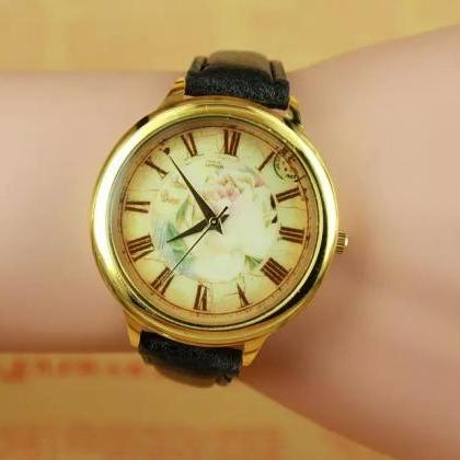 Vintage rose watch, black leather w..