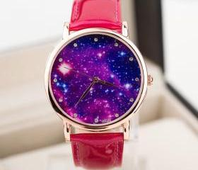 Galaxy watch, galaxy leather watch, hot pink leather watch, leather watch, bracelet watch, vintage watch, retro watch, woman watch, lady watch, girl watch, unisex watch, AP00423