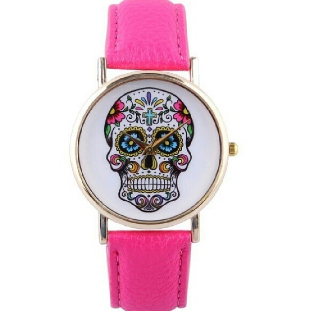 skull watch, skull leather watch, leather watch, bracelet watch, vintage watch, retro watch, woman watch, lady watch, girl watch, unisex watch, AP0015