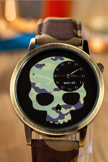 Skull leather watch, leather watch, bracelet watch, vintage watch, retro watch, woman watch, lady watch, girl watch, unisex watch, AP00556