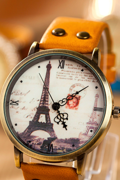 Paris Tower leather watch, leather watch, bracelet watch, vintage watch, retro watch, woman watch, lady watch, girl watch, unisex watch, AP00569