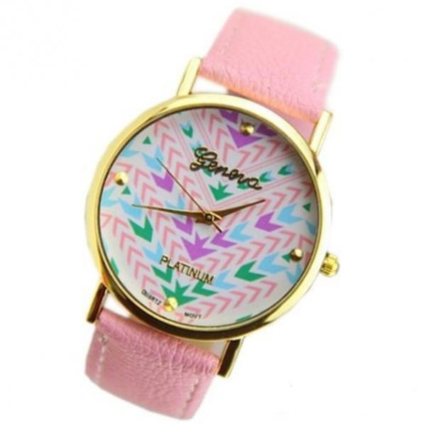 arrow watch, arrow leather watch, pink watch, leather watch, bracelet watch, vintage watch, retro watch, woman watch, lady watch, girl watch, unisex watch, AP00012