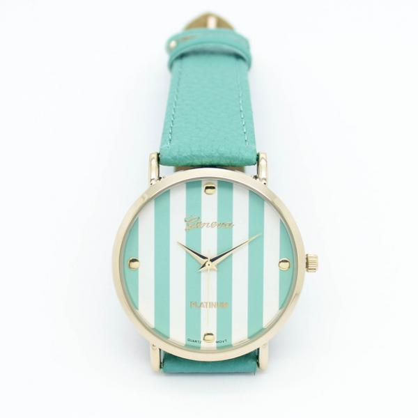 stripe watch, stripe leather watch, mint watch, leather watch, bracelet watch, vintage watch, retro watch, woman watch, lady watch, girl watch, unisex watch, AP00013