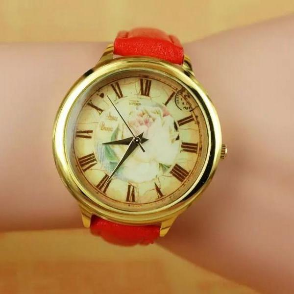 Vintage rose watch, red leather watch, rose leather watch, bracelet watch, vintage watch, retro watch, woman watch, lady watch, girl watch, unisex watch, AP00271